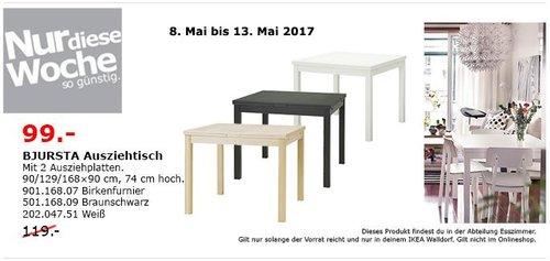 IKEA BJURSTA Ausziehtisch mit 2 Ausziehplatten, 90/129/168x90 cm, 74 cm hoch, weiß, birkenfurnier, braunschwarz - jetzt 17% billiger
