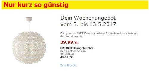 IKEA MASKROS Hängeleuchte - jetzt 20% billiger