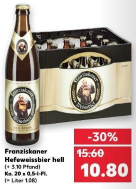 Franziskaner Hefeweissbier hell, Ka. 20x 05-L-Fl. - jetzt 31% billiger