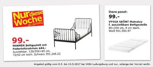 IKEA  MINNEN Bettgestell - jetzt 26% billiger