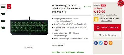 RAZER Gaming-Tastatur BlackWidow Ultimate 2016 - jetzt 46% billiger