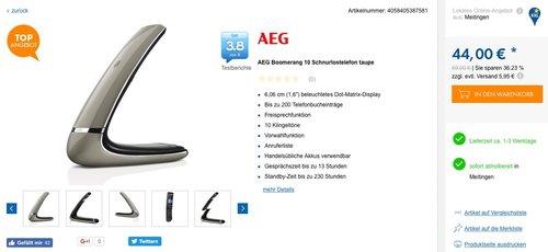 AEG Boomerang 10 Schnurloses Telefon - jetzt 36% billiger