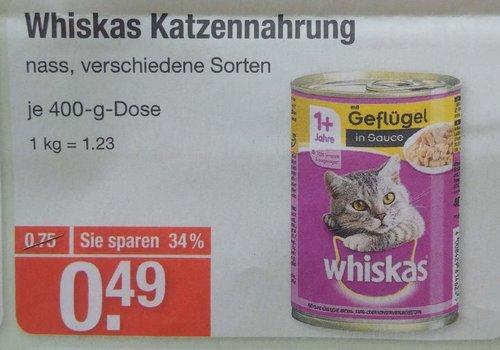 Whiskas Katzennahrung, nass, versch. Sorten - jetzt 35% billiger