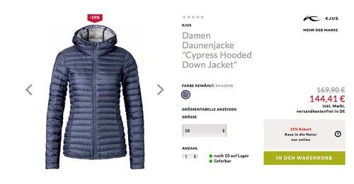 Kjus Damen Daunenjacke Cypress Hooded Down Jacket - jetzt 15% billiger