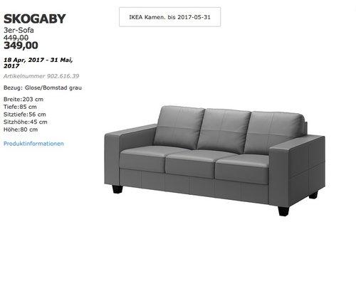 Ikea Skogaby 3er Sofa Fur 349 00 22