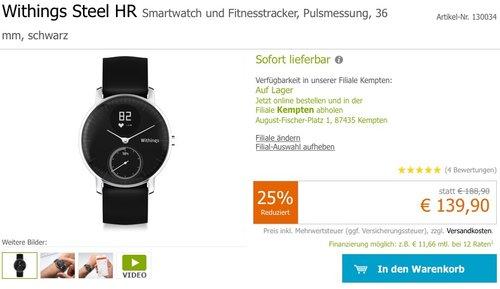 Withings Steel HR Fitnessuhr mit Herzfrequenzmessung, Schwarz, 36 mm - jetzt 26% billiger