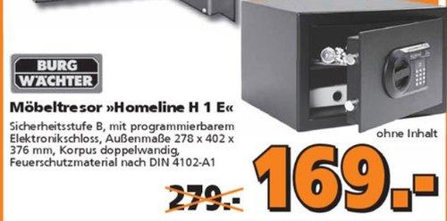 BURG-WÄCHTER Möbeltresor, Elektronisches Zahlenschloss, Sicherheitsstufe B, HomeSafe H 1 E - jetzt 39% billiger