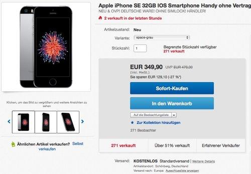 Apple iPhone SE 32GB - jetzt 8% billiger