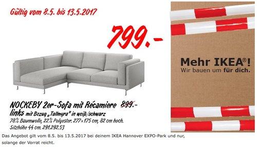 """IKEA NOCKEBY 2er-Sofa mit Recamiere links mit Bezug """"Tallmyra"""" in weiß/schwarz - jetzt 11% billiger"""