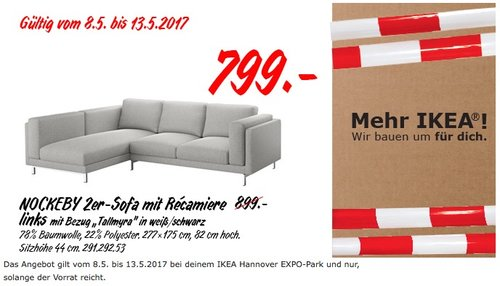 Ikea Nockeby 2er Sofa Mit Recamiere Links Fur 799 00 11