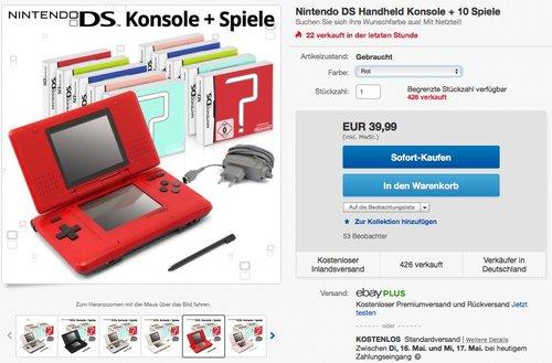 Nintendo DS Handheld Konsole + 10 Spiele - jetzt 58% billiger