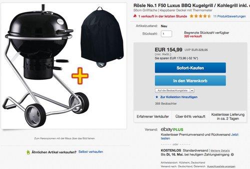 Rösle 25000 No.1 F50 Holzkohle-Kugelgrill 50cm schwarz - jetzt 26% billiger
