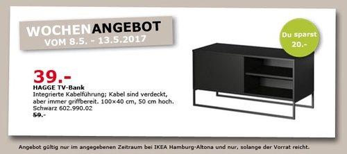 IKEA HAGGE TV-Bank, 100x40 cm, 50 cm hoch, schwarz - jetzt 34% billiger