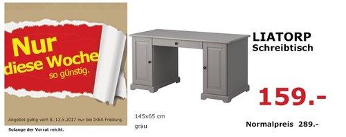 IKEA LIATORP Schreibtisch, 145x65 cm, grau - jetzt 45% billiger