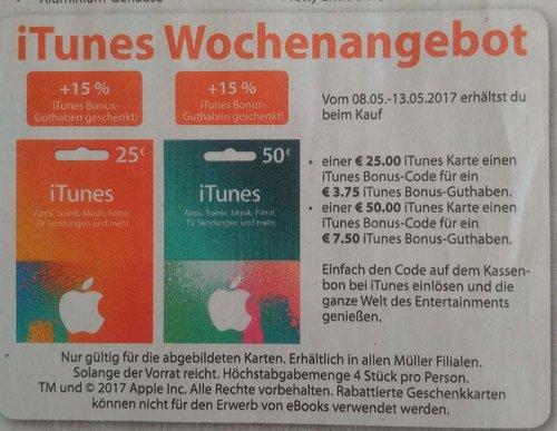 Plus 15 Prozent iTunes Bonus-Guthaben - jetzt 13% billiger