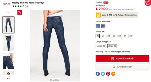 Replay Damen Slim Jeans Jodey - jetzt 47% billiger