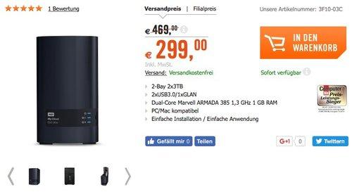 WD My Cloud EX2 Ultra NAS System 2-Bay 6TB (2x3TB) - jetzt 36% billiger