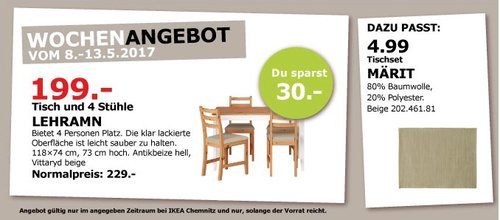 IKEA LEHRAMN Tisch und 4 Stühle, 118x74 cm, 73 cm hoch, antikbeize hell. - jetzt 13% billiger
