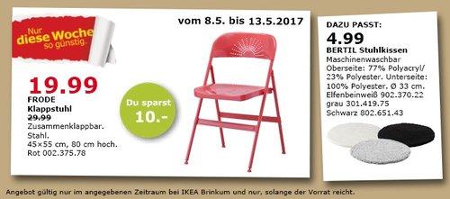 IKEA FRODE Klappstuhl, zusammenklappbar, 45x55 cm, 80 cm hoch - jetzt 33% billiger