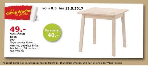 IKEA NORRAKER Tisch, 74x74 cm, 74 cm hoch, gebeizte Birke - jetzt 45% billiger