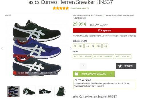 asics Curreo Herren Sneaker HN537 - jetzt 25% billiger