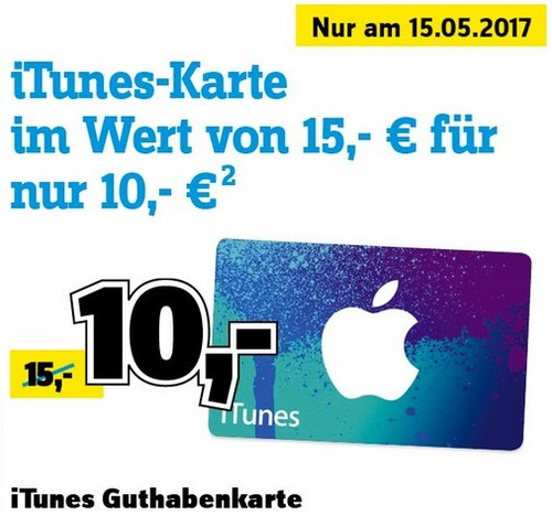 15,- € iTunes-Karte für 10,- € nur am 15.05.2017 - jetzt 33% billiger