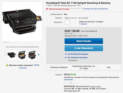 Tefal GC7148 Optigrill Snacking & Backing - jetzt 11% billiger