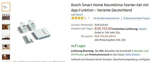 Bosch Smart Home Raumklima Starter-Set mit App-Funktion - Variante Deutschland - jetzt 20% billiger