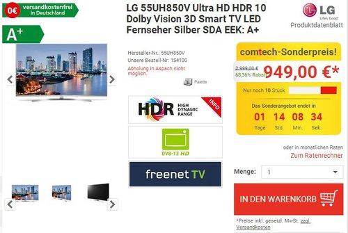 LG 55UH850V Ultra HD Smart TV - jetzt 14% billiger