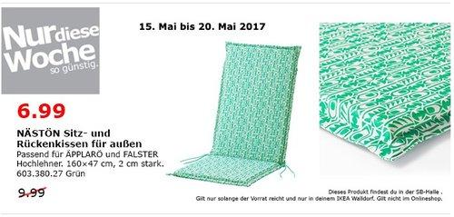 IKEA NASTÖN Sitz- und Rückenkissen für Außen, 160x47 cm, 2 cm hoch, grün - jetzt 30% billiger