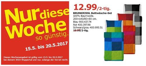 IKEA BRUNKRISSL Bettwäsche-Set, 100% Baumwolle, 200x140/80x80 cm, blau, rot, schwarz/grau. - jetzt 35% billiger