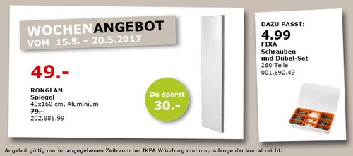 IKEA RONGLAN Spiegel 40x60 cm, Aluminium - jetzt 38% billiger