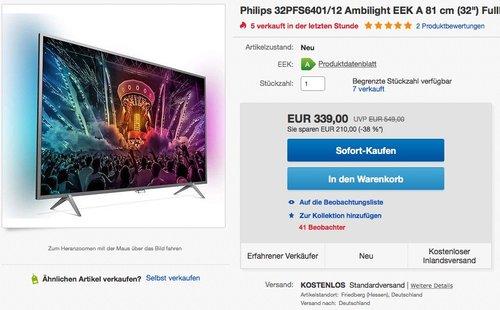 Philips 32PFS6401 80 cm (32 Zoll) Smart TV - jetzt 9% billiger