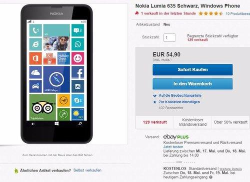 Nokia Lumia 635 Smartphone - jetzt 35% billiger