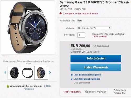 Samsung Gear S3 classic SM-R770 - jetzt 9% billiger