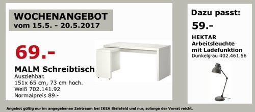 IKEA MALM Schreibtisch mit Ausziehplatte, 151x65 cm, 73 cm hoch, weiß - jetzt 22% billiger