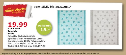 IKEA HIMMELSK Teppich, 133x160 cm, türkis oder grau - jetzt 43% billiger