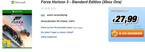Forza Horizon 3 - Standard Edition [Xbox One] - jetzt 49% billiger