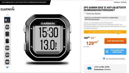 Garmin Edge 25 GPS-Fahrradcomputer - jetzt 24% billiger