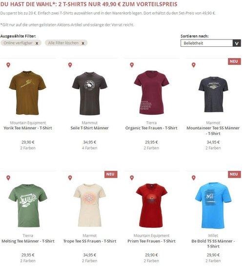 2 T-Shirts nur 49,90 € zum Vorteilspreis kaufen und bis 20 Euro sparen. Mammut, Tierra, Marmot u.a. - jetzt 29% billiger