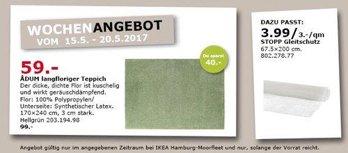 IKEA ADUM Teppich Langflor, 170x 240 cm, 3 cm dick, hellgrün - jetzt 40% billiger