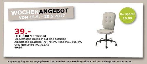 IKEA LILLHÖJDEN Drehstuhl, 70x70 cm, max. Höhe 106 cm, grau - jetzt 22% billiger
