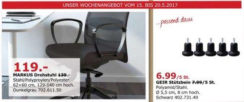 IKEA MARKUS Drehstuhl, 62-60 cm, 129-140 cm hoch, dunkelgrau - jetzt 14% billiger