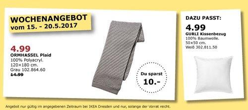 IKEA ORMHASSEL Plaid, 120x180 cm, grau - jetzt 67% billiger