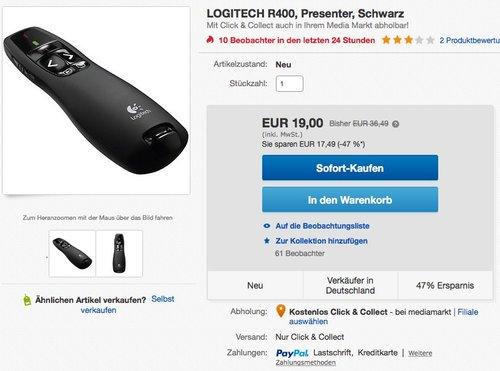 LOGITECH R400, Presenter, Schwarz - jetzt 48% billiger