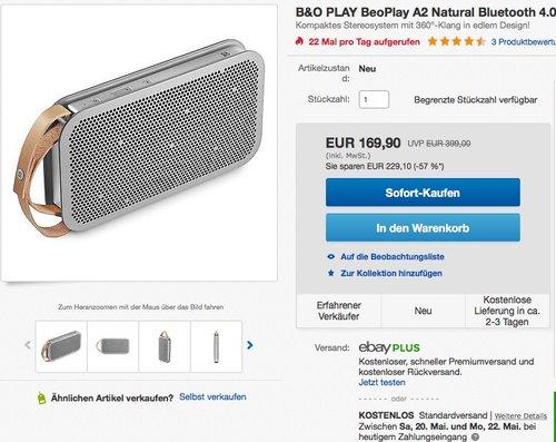 B&O PLAY BeoPlay A2 Natural Bluetooth 4.0 Lautsprecher - jetzt 48% billiger