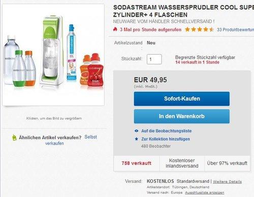 SODASTREAM WASSERSPRUDLER COOL SUPER SPAR PACK - jetzt 28% billiger