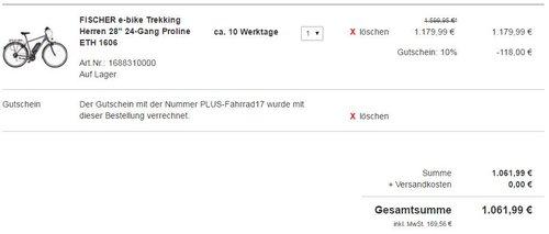 "FISCHER e-bike Trekking Herren 28"" 24-Gang Proline ETH 1606 - jetzt 10% billiger"