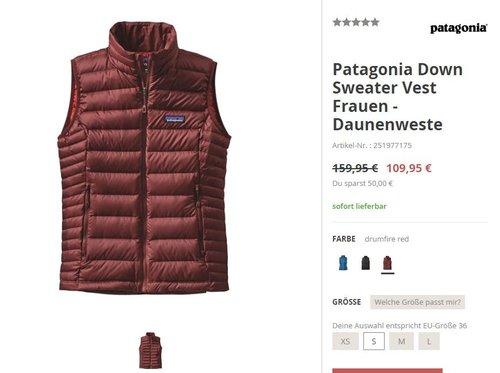 Patagonia Down Sweater Vest Frauen - Daunenweste - jetzt 31% billiger