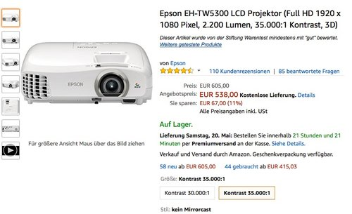 Epson EH-TW5300 LCD Projektor - jetzt 11% billiger